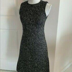 Theory Black & White Tweed A Line Sleeveless Dress